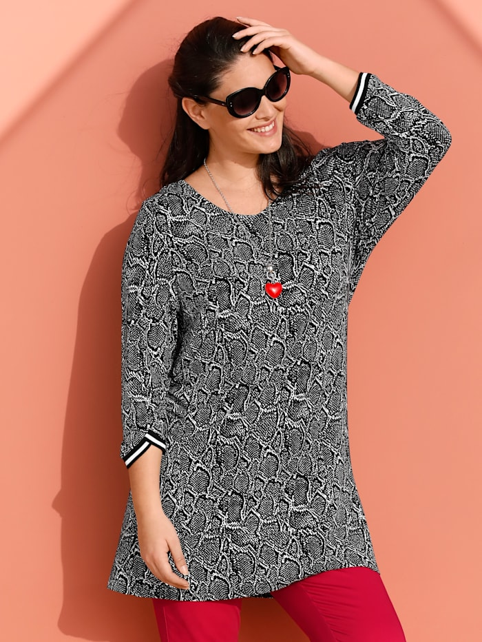 MIAMODA Shirt mit modischem Animal Print, Schwarz/Weiß