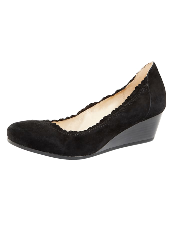 MONA Wedges with scallop trim, Black