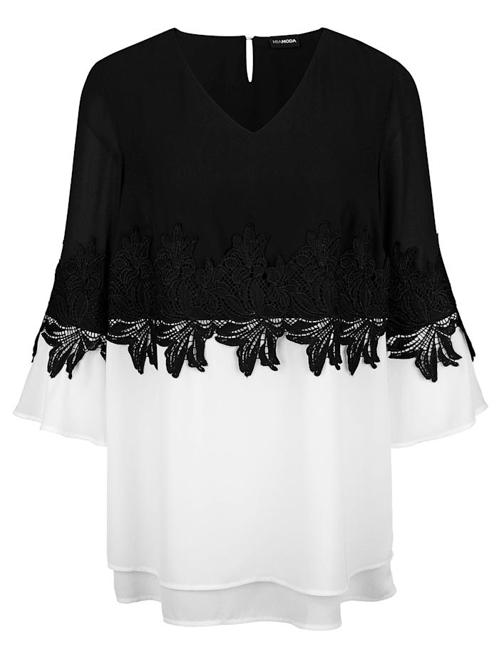 MIAMODA Tunika s pěknou krajkou, Bílá/Černá