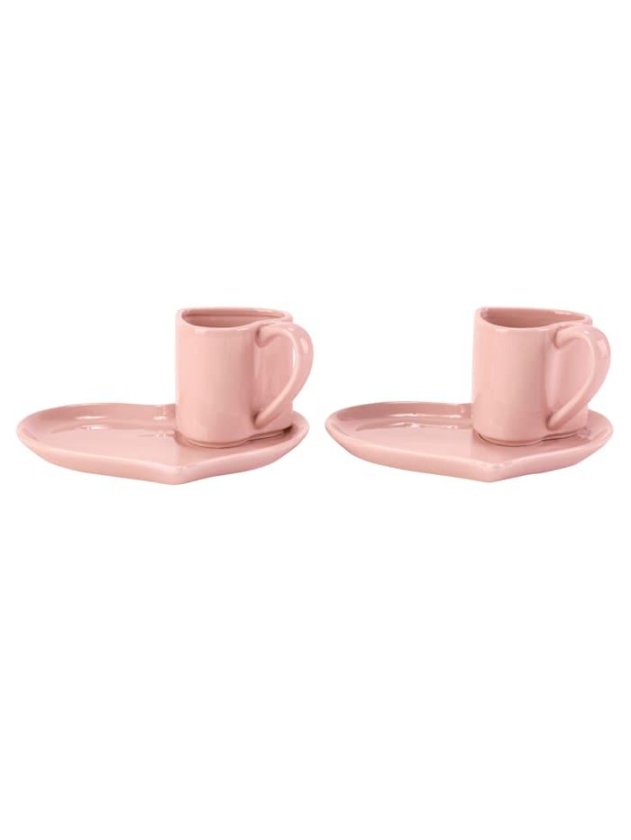IMPRESSIONEN living Kaffee-Set, 2-tlg., Herz, pink