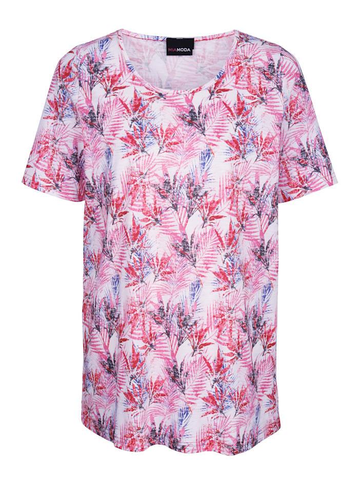 Shirt mit buntem Blätterdruck