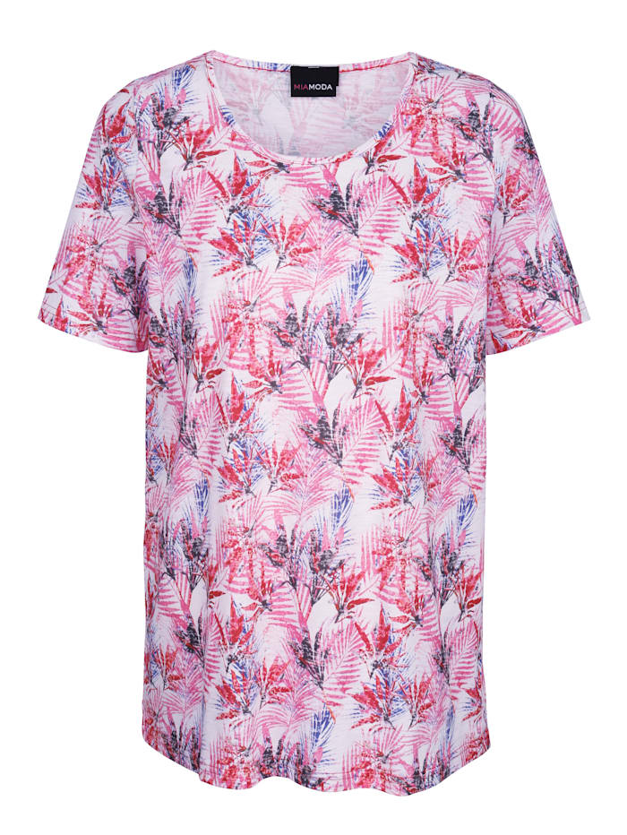 Shirt met multicolor bladerenprint