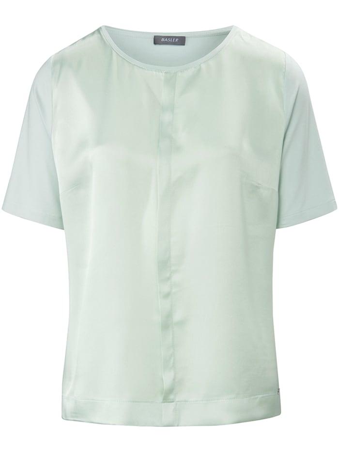 Basler T-Shirt mit Vorderteil aus Seide und Rundhalsausschnitt, birch