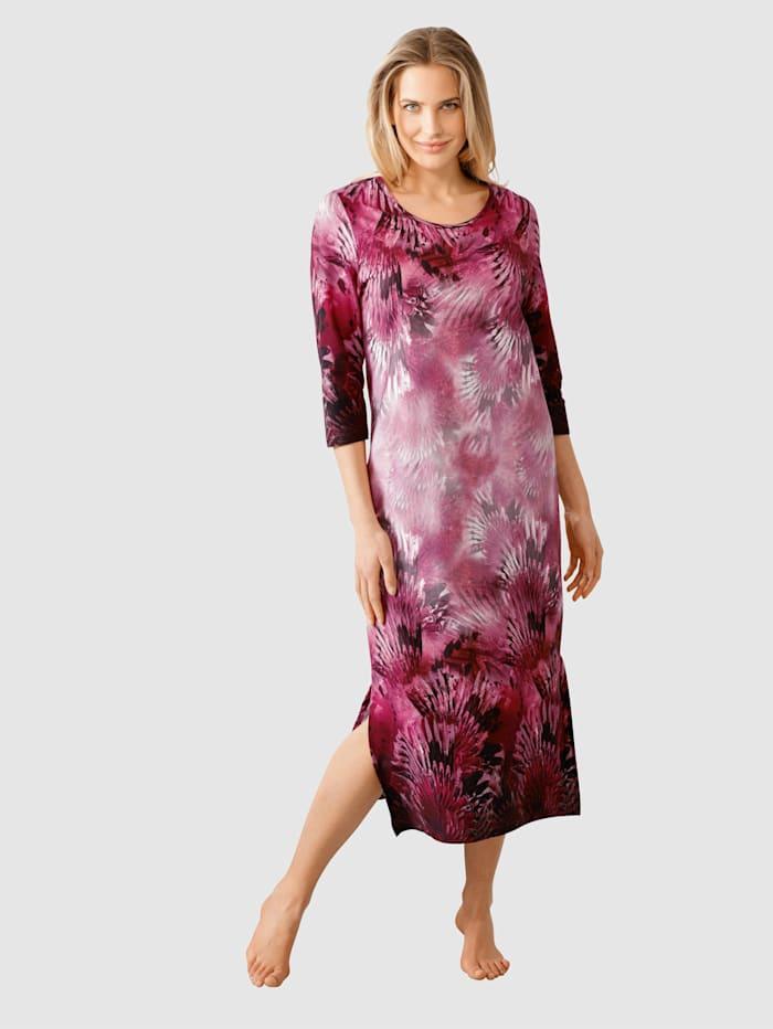 Harmony Hauskleid mit floralem Bordürendruck, Fuchsia/Schwarz