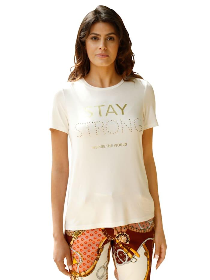 AMY VERMONT Shirt mit Schriftzug im Vorderteil, Ecru/Goldfarben