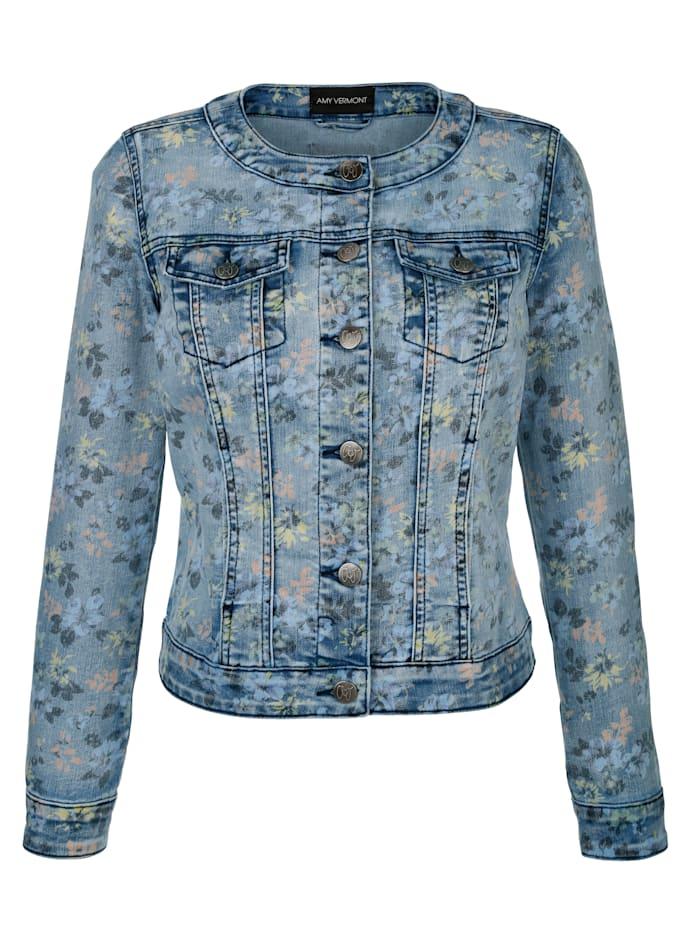 Jeansjacke im allover Druck