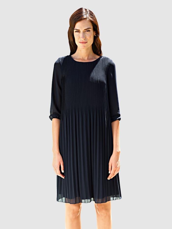 Paola Plisseekleid elegant fließendes Kleid, Marineblau