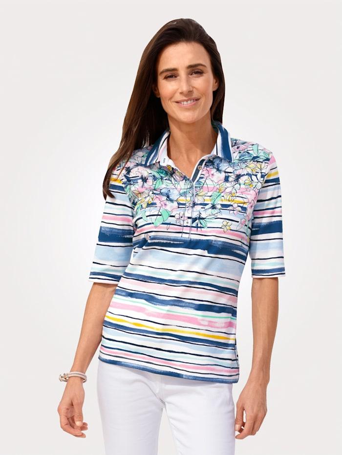 Rabe Poloshirt aus reiner Baumwolle, Blau/Rosé