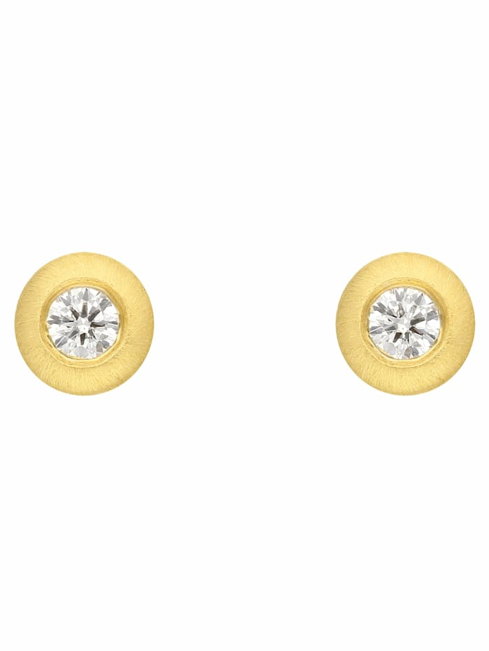 1001 Diamonds 1001 Diamonds Damen Goldschmuck 585 Gold Ohrringe / Ohrstecker mit Brillant Ø 4,2 mm, gold