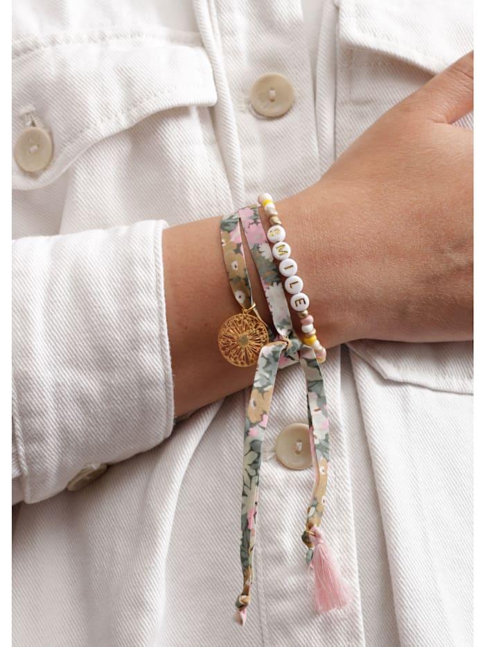Handgefertigtes Perlen- und Bändchenarmband