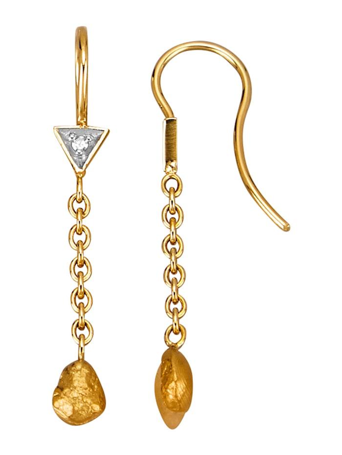 Diemer Gold Ohrringe mit Diamanten und Feingold-Nuggets, Gelbgoldfarben