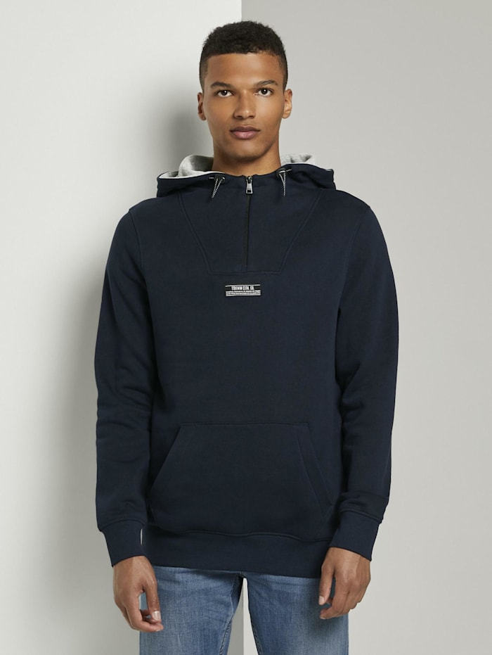 Tom Tailor Denim Hoodie mit Kängurutasche, Sky Captain Blue