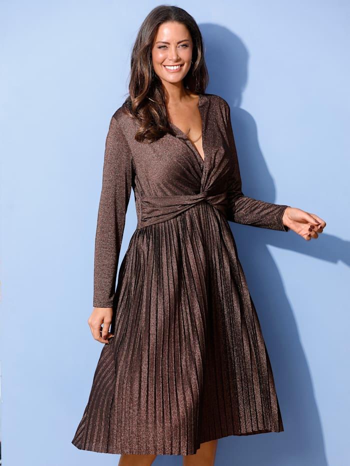 MIAMODA Šaty s efektným preložením v páse, Bronzová