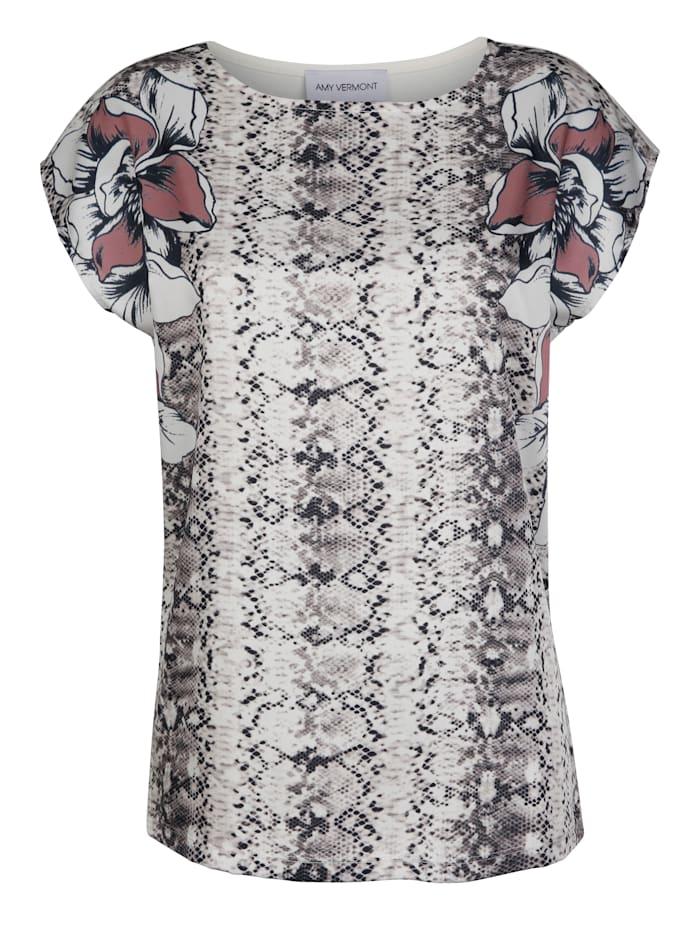 AMY VERMONT Shirt mit Animal- und Floraldruck, Braun/Creme-Weiß