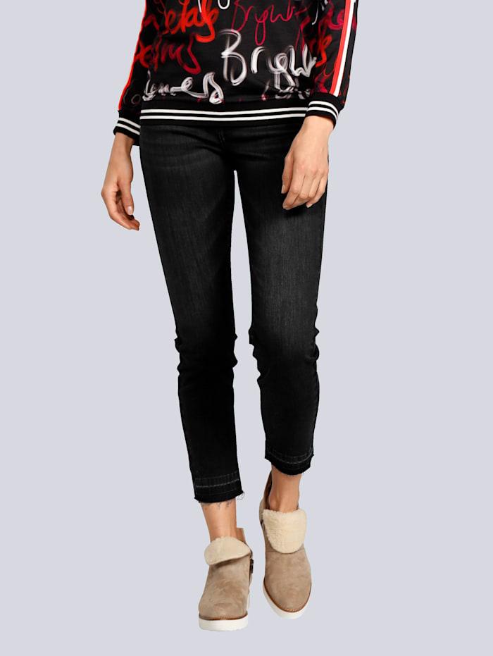 JETTE JOOP Jeans mit Fransen am Saum, Black stone