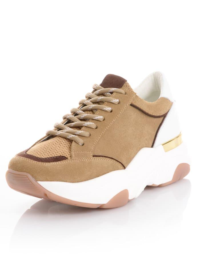 Alba Moda Sneaker in chunky model, Beige/Bruin