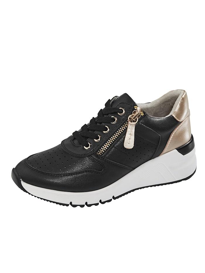 Liva Loop Sneaker mit sommerlicher Perforation, Schwarz/Goldfarben