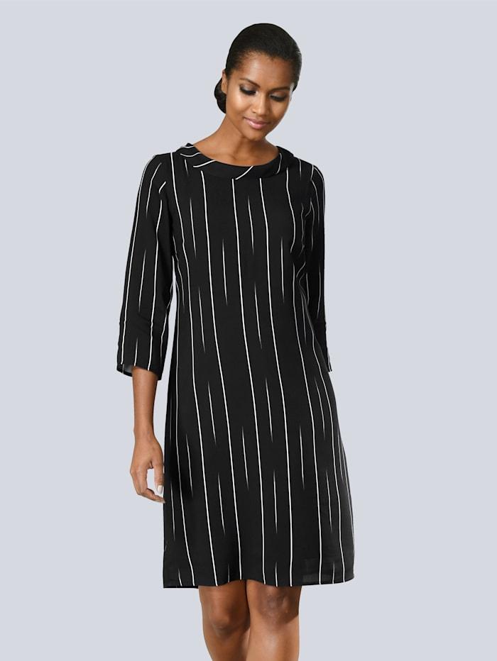 Alba Moda Kleid mit dezenten Streifen, Schwarz