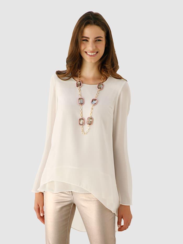 Bluse mit transparentem Langarm