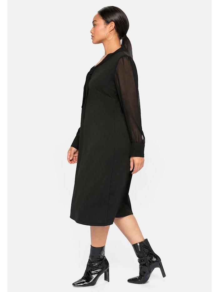 Jerseykleid mit Schluppe und Chiffonärmeln