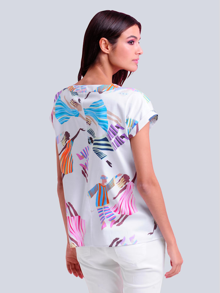 Bluse im farbenfrohen Motiv-Print allover