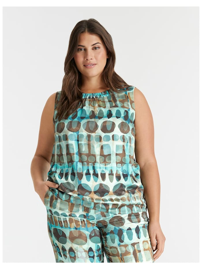 Samoon Ärmellose Bluse mit Allover-Print, Cameo Blue gemustert