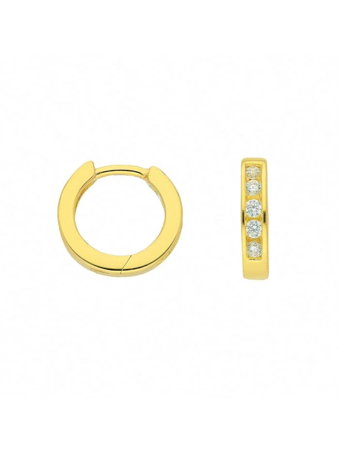 1001 Diamonds Damen Silberschmuck 925 Silber Ohrringe / Creolen mit Zirkonia Ø 11,8 mm, vergoldet
