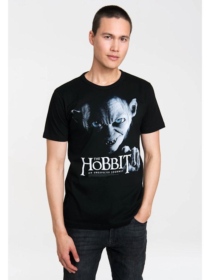 Logoshirt Print T-Shirt The Hobbit – Gollum mit lizenziertem Originaldesign, schwarz