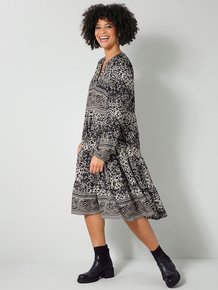 Angel of Style Web-Kleid mit kaschierenden Volants, Schwarz/Grau/Off-white