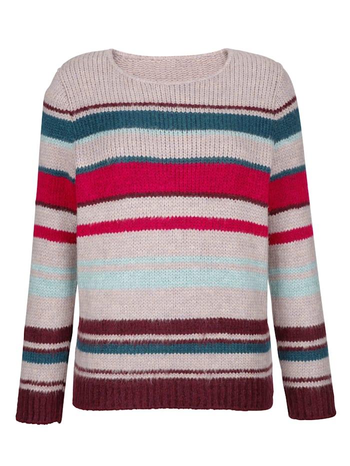 Dress In Pullover in trendigem Streifendesign, Altrosa