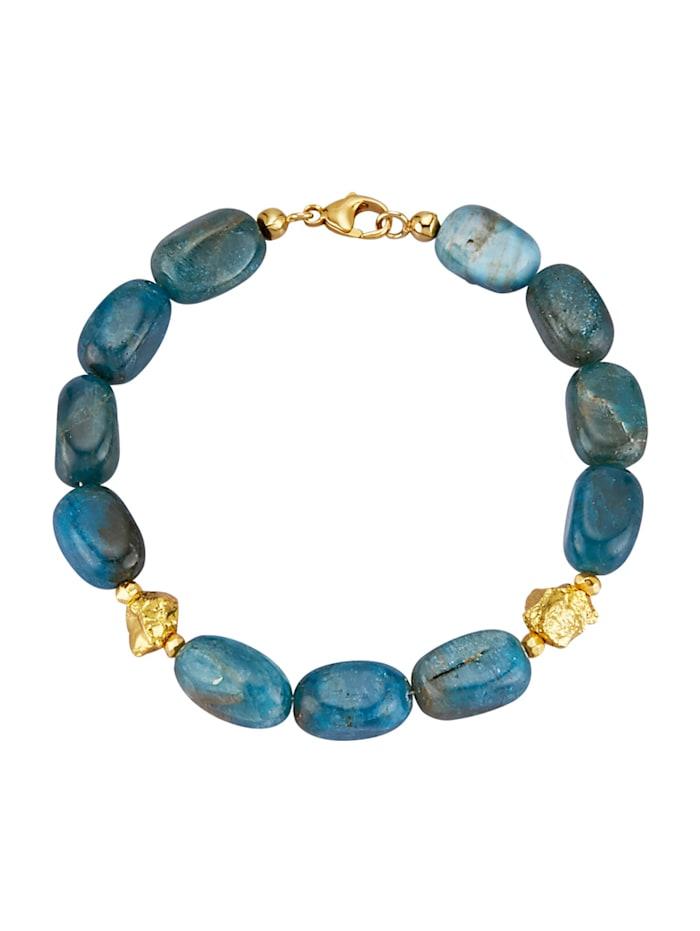 Armband met apatiet en pyriet-nuggets, Blauw