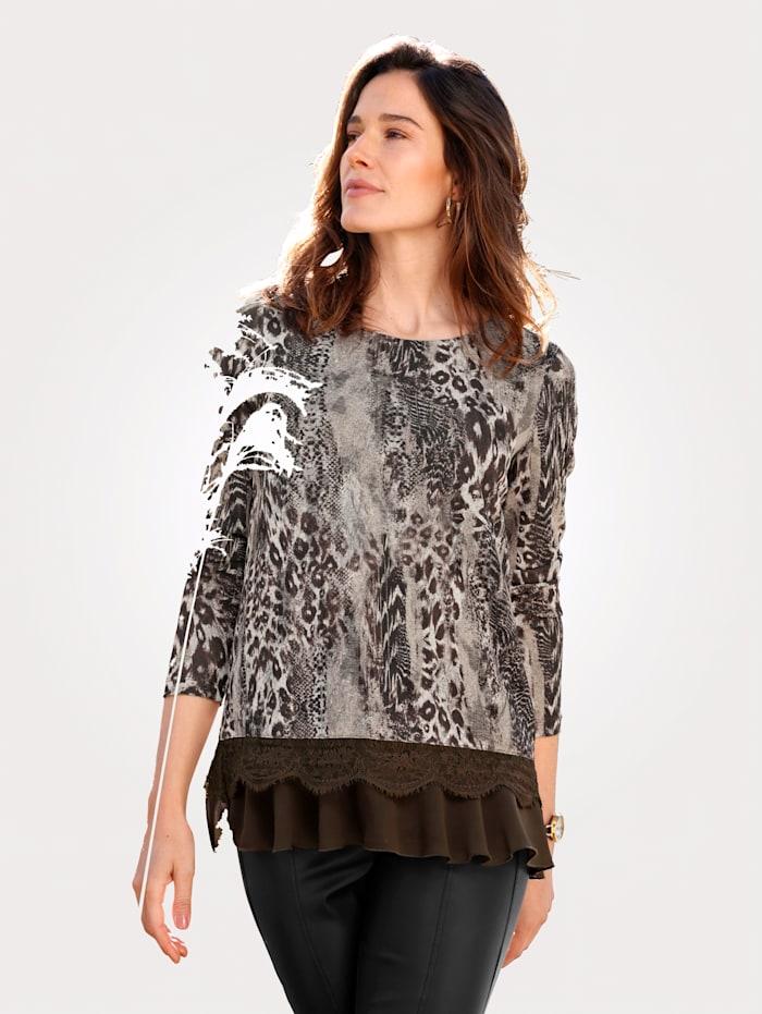MONA Shirt mit Spitze und Volant, Dunkelbraun/Beige