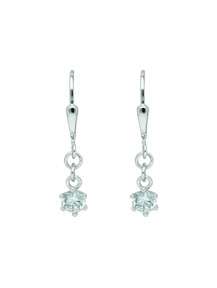 1001 Diamonds Damen Goldschmuck 333 Weißgold Ohrringe / Ohrhänger mit Zirkonia, silber