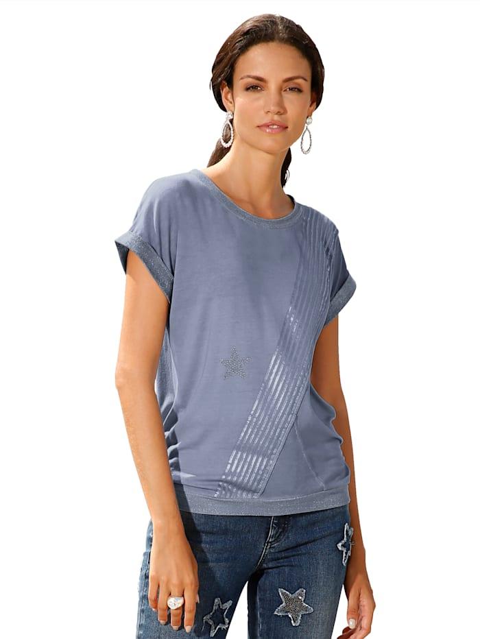 Shirt met folieprint en strassteentjes