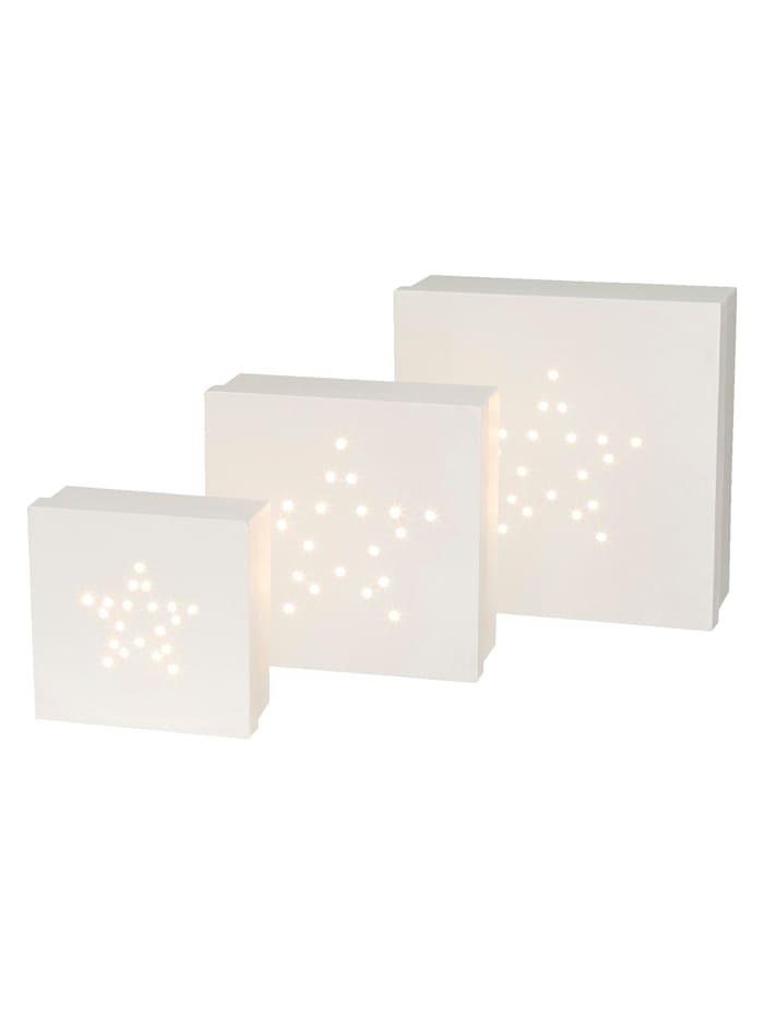 Creativ Deco LED Stern-Geschenkbox 3teilig, Weiß