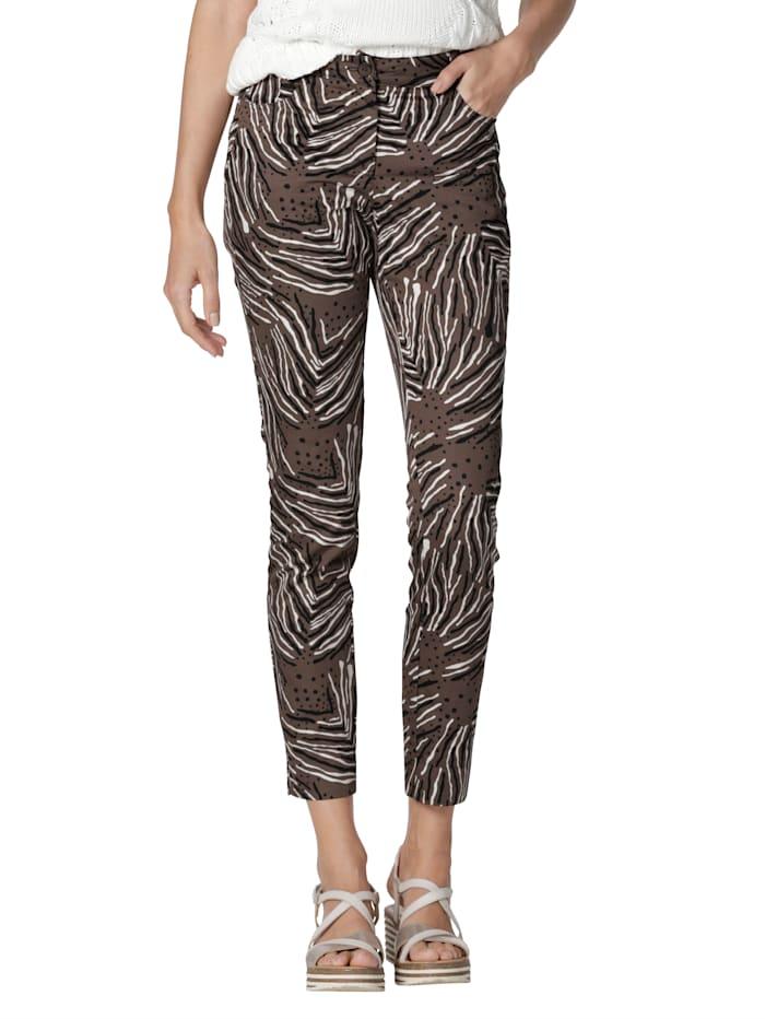 AMY VERMONT Hose mit grafischem Muster allover, Braun/Schwarz/Creme-Weiß