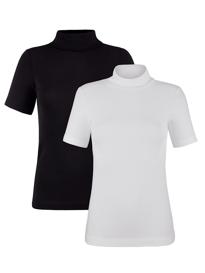 HERMKO Shirts aus hochwertiger und zertifizierter Baumwolle, Weiß/Schwarz