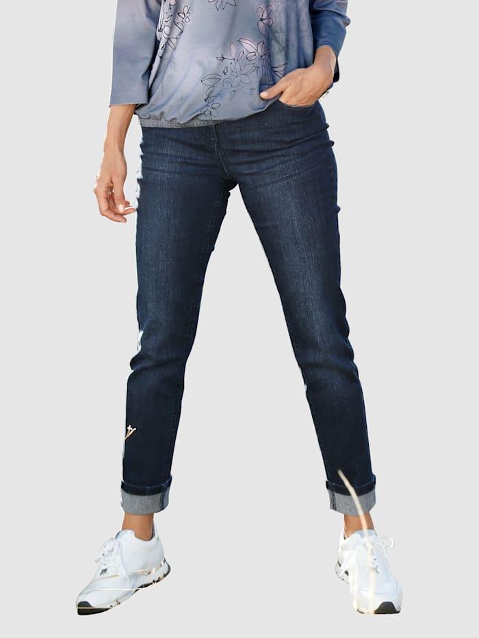 Paola 7/8 Jeans mit Hosenaufschlag und Zierband, Dark blue