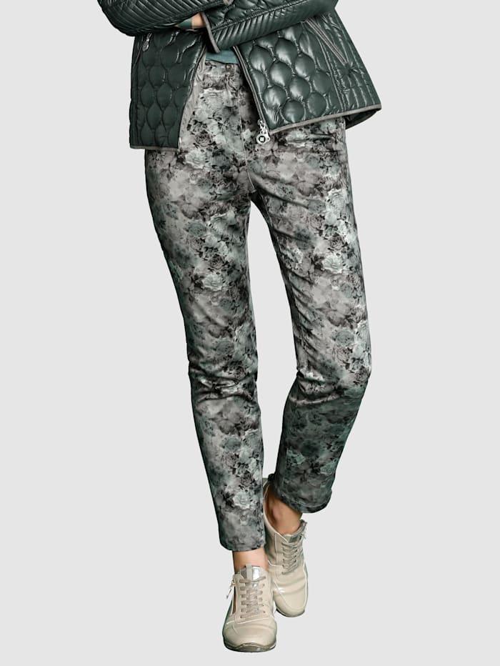 MONA Byxor med mönster i välmatchade färger, Mint/Antracitgrå
