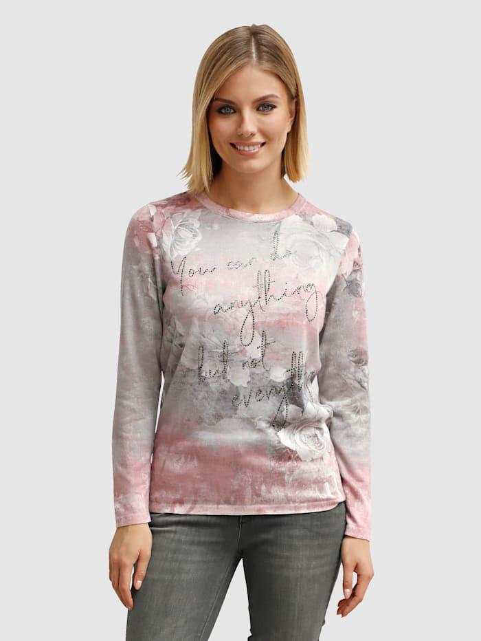 AMY VERMONT Pullover mit dekorativem Druck- und Steinchenbesatz, Rosé/Grau