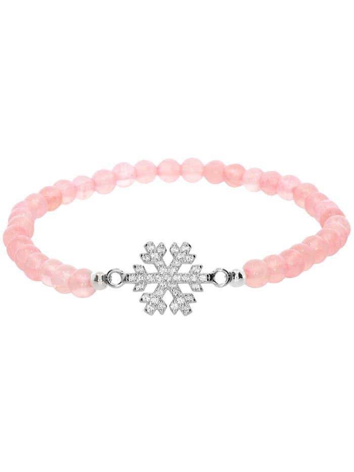 1001 Diamonds Schneeflocke Rosenquarz Armband 925 Silber 17 cm, rosa