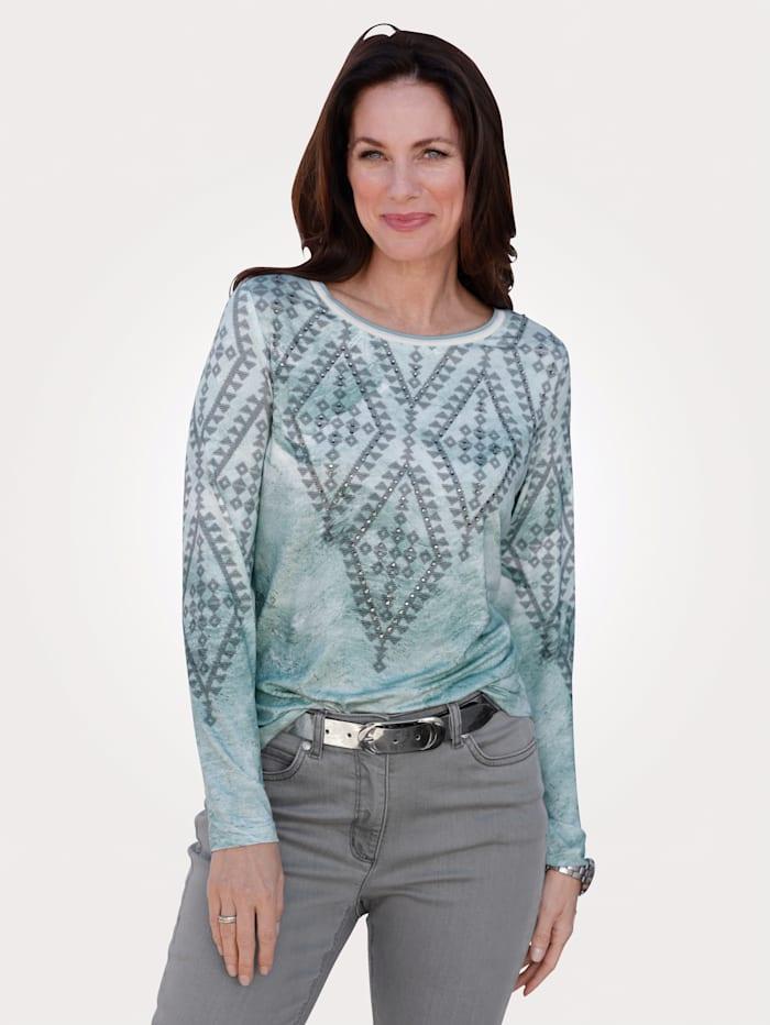 MONA Shirt mit Norweger-Motiv, Mintgrün/Grau