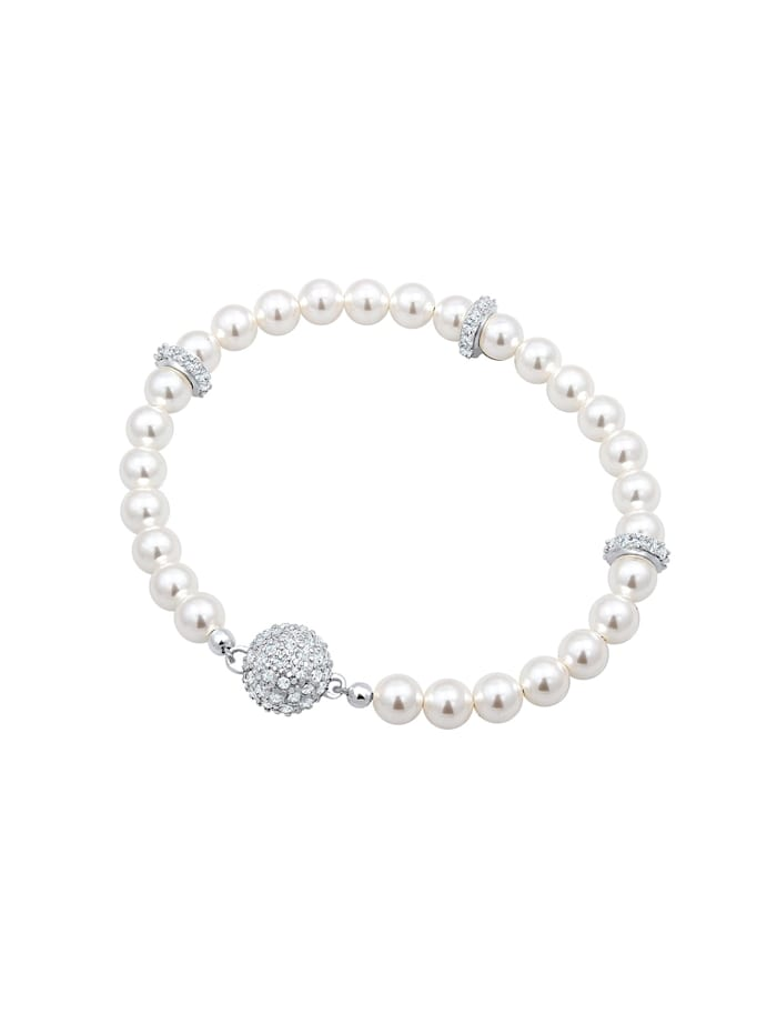 Armband Kugel Magnet Synthetische Perlen 925 Silber