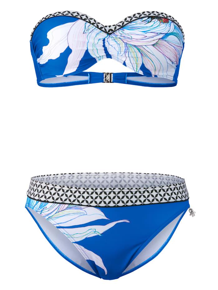Opera Bandeaubikini mit Blumendruck, Blau