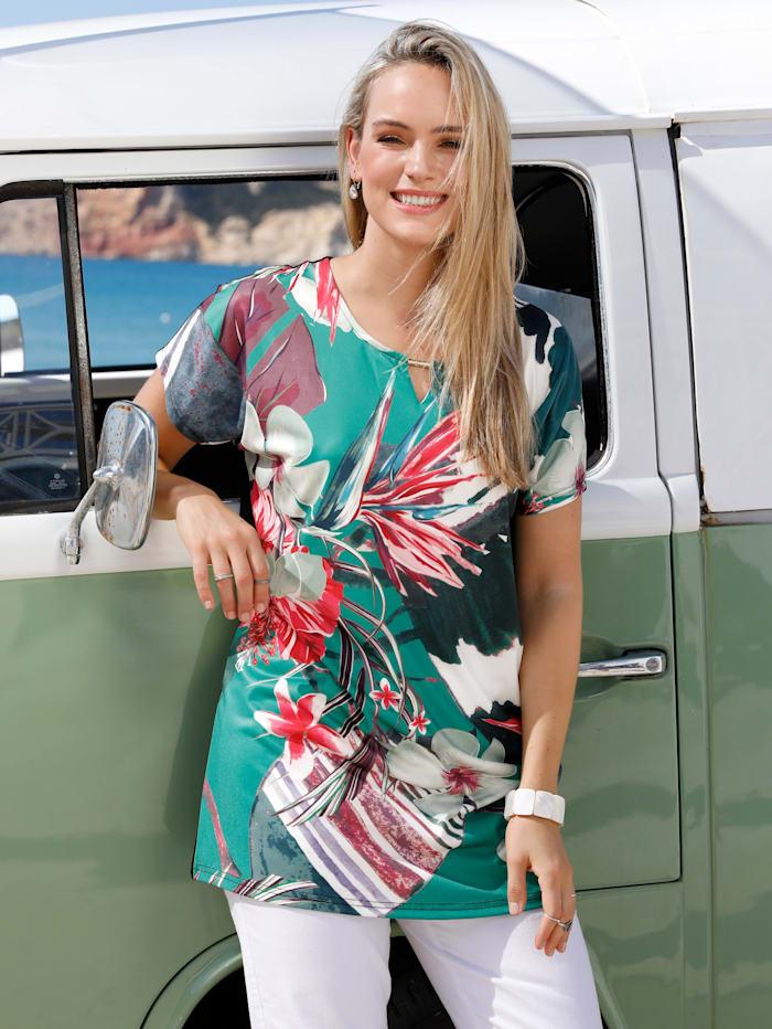 MIAMODA Longshirt met uitsparing bij de hals, Groen/Zwart