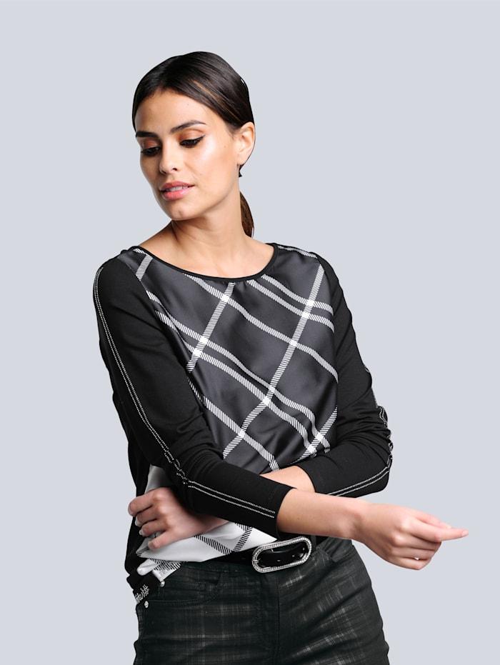 Alba Moda Shirt im exklusiven Dessin nur bei Alba Moda erhältlich, Schwarz/Off-white