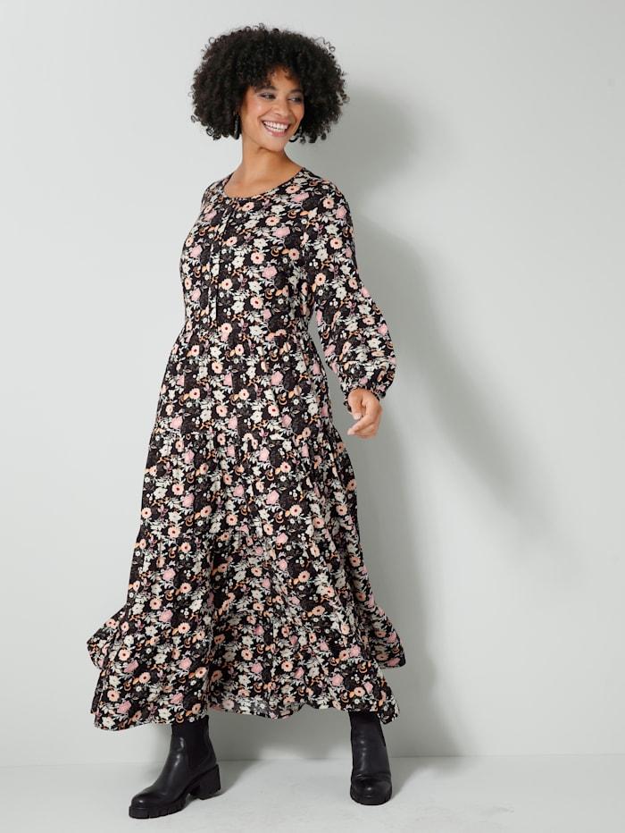 Angel of Style Web-Kleid mit floralem Dessin, Schwarz/Altrosa/Gelb/Grün