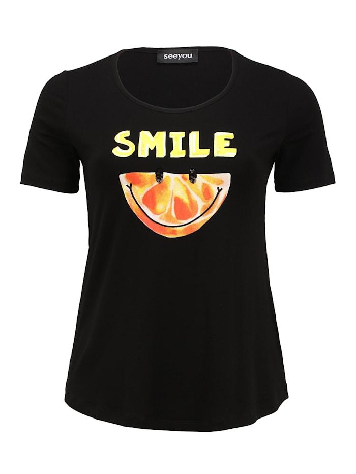 seeyou T-Shirt Druck Applikationen, schwarz