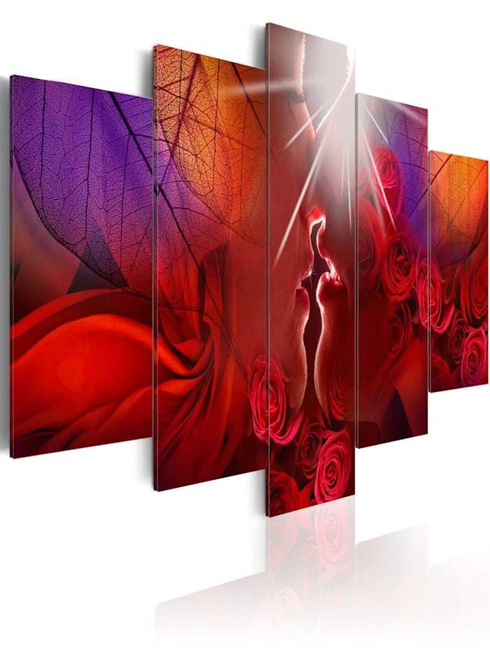 artgeist Wandbild Kiss from rose, Rot,Violett,Orange