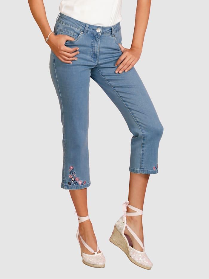 Laura Kent Corsaire en jean à broderie florale au bas de jambe, Bleu